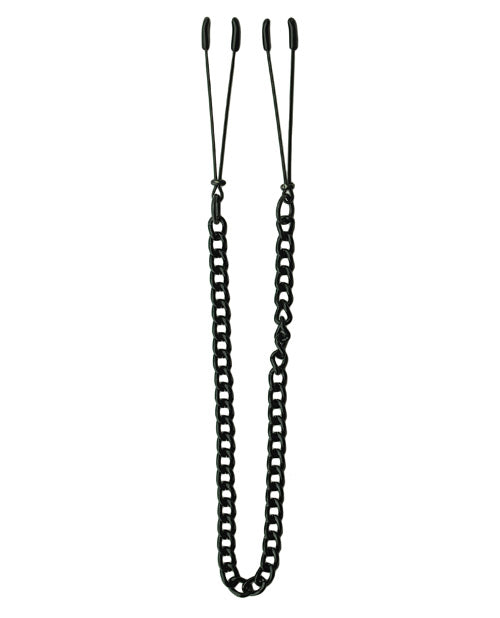 Spartacus Adjustable Black Tweezer Nipple Clamps W/chain