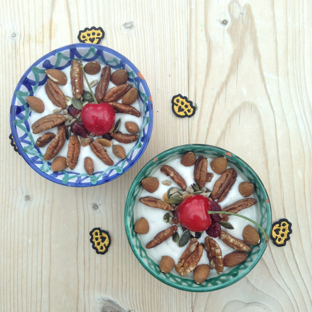 Cherries with nuts and seeds in yoghurt