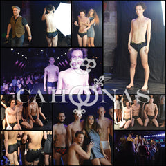Back stage photos of a Cahoonas male underwear fashion shoot