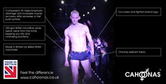 Male catwalk model wears British designed and manufactured underwear at a fashion show