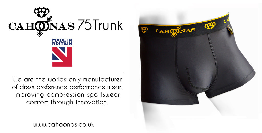 A pair of black Cahoonas75 trunks patented British designed & manufactured sports wear and underwear.