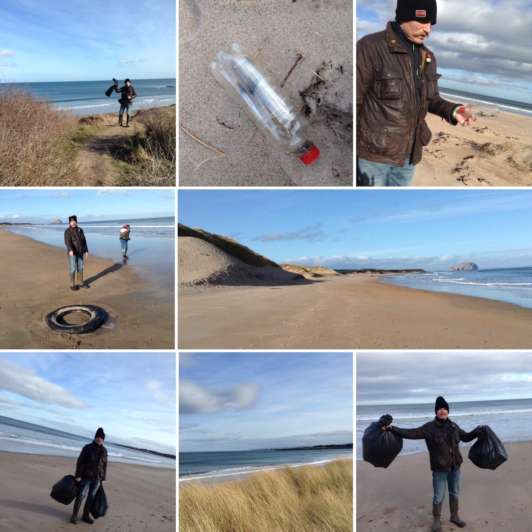 The Edinberry team beach cleaning at Dunbar. Removing plastic, asbestos and hypodermic needles