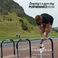 street gymnastics over a cycle rack wearing cahoonas performance baselayers