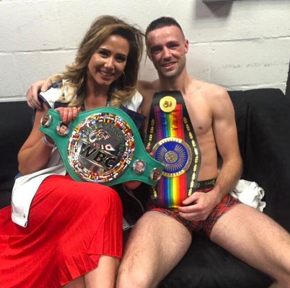 Josh Taylor Boxer, relaxes in his Cahoonas after winning another boxing title belt.
