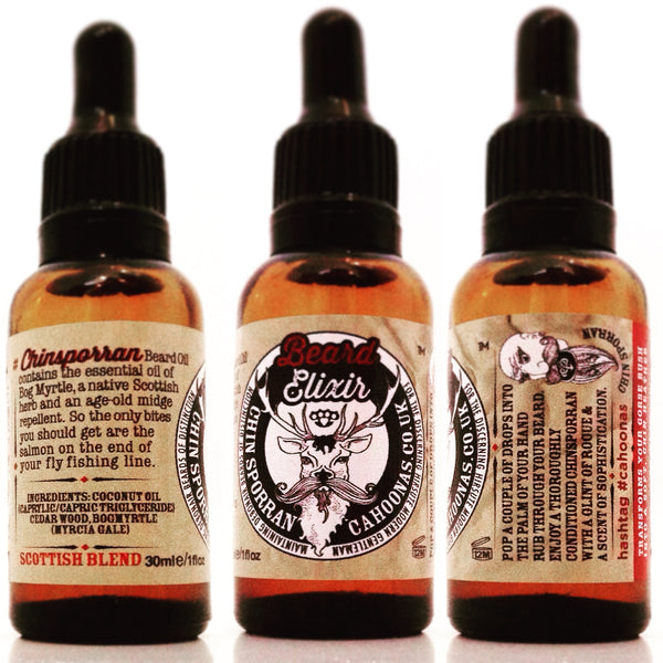 All round view of 30ml bottle of chinsporran beardoil from the Scotstag range