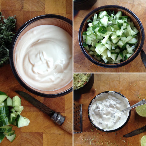 Yogurt, mint, lime & cucumber dip