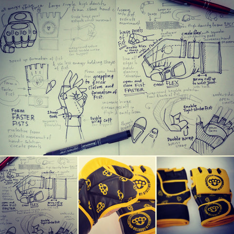product development illustrations and designs of our MMA cage fighting glove.
