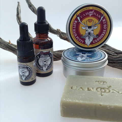 Cahoonas Scotstag styling range, beard oil, hair putty and paste plus tea tree soap.