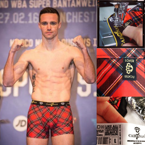 Josh Taylor at the FramptonQuigg weigh-in wears Royal Stewart Cahoonas.