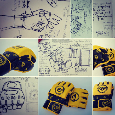 Product development sketches, initial illustrations alongside the completed designed MMA cage fight gloves.