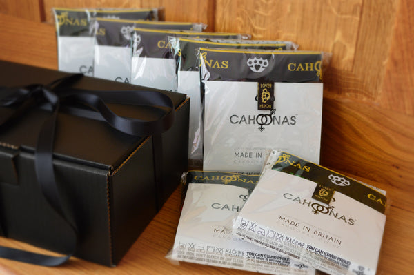 Luxury box of British manufactured underwear by Cahoonas