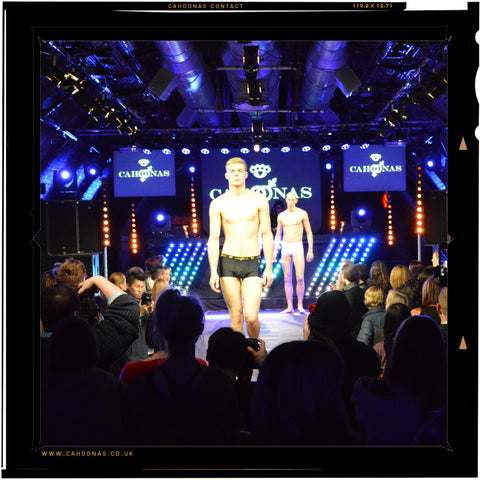 The British manufactured Cahoonas 75 trunk on the catwalk. Models strut their stuff wearing the worlds only dress preference male garment.