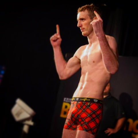 Danny henry world champ MMA at his weigh-in wearing red tartan Cahoonas