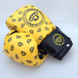 Yellow knuckleduster design leather  boxing gloves