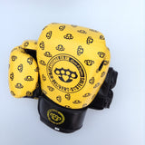 Yellow knuckleduster design leather Punchers boxing gloves