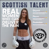 Chantelle wears Cahoonas 14 Oz FightFixer sparring gloves