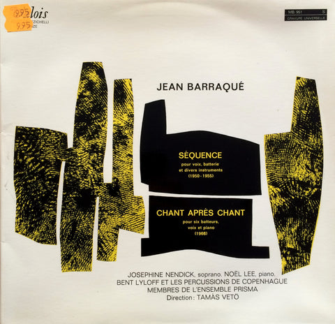 Jean Barraque / Sequence, Chant Apres Chant, LP