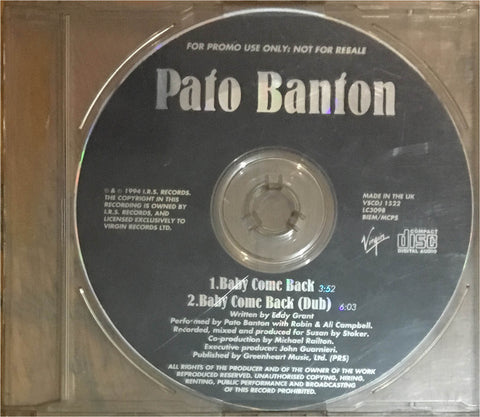 Pato Banton / Baby Come Back, CD Single