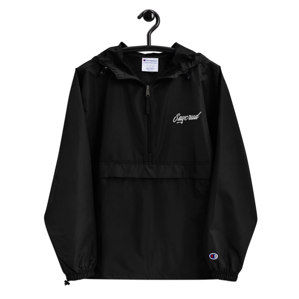 [SAYCRUD] Black Embroidered Champion Packable Jacket