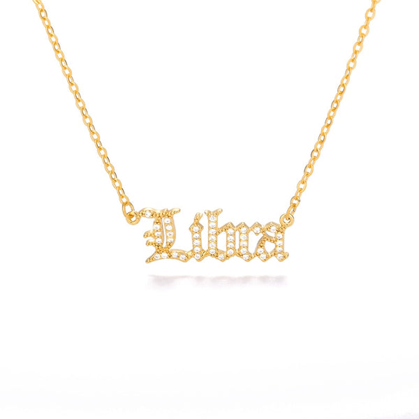 12 Constellation Zodiac Crystal  Necklace