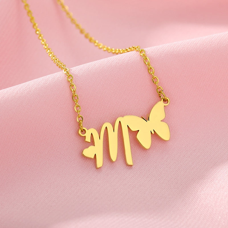 Initials Butterfly Necklace