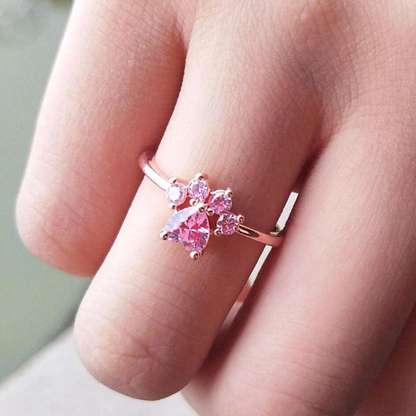 Cute Paw Zircon Ring