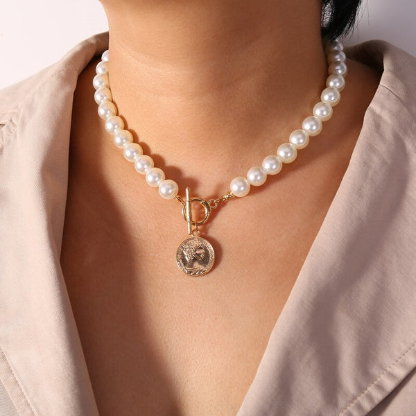 Jennifer's Carved Coins Pearl Necklace