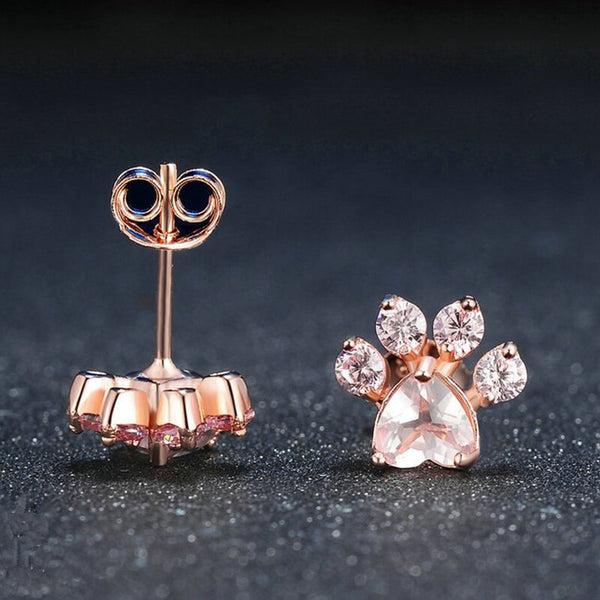 Rose Gold  Paw Stud Earrings