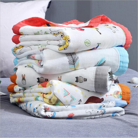 4 Layers bamboo fiber super soft muslin blanket dinosaur fox baby swaddle wrap stroller cover Bath Towel baby receiving blanket