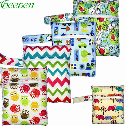 Reusable Nursing Pads Single Zippers Sanitary Pads Washable Wet Bags Nappy Bags Printed Waterproof  Wetbag Diaper Bags 16*20cm