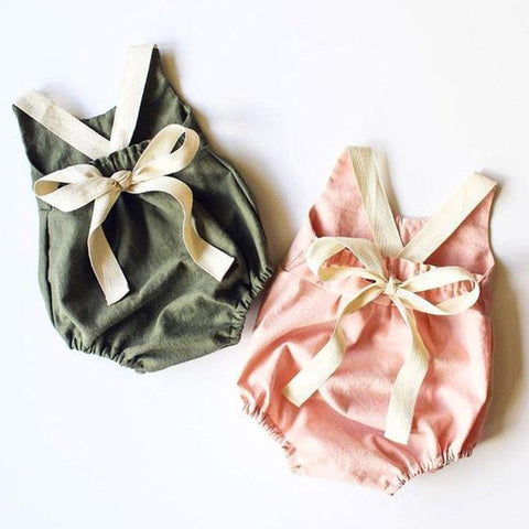 0-24M Newborn Kid Baby Girl Clothes Summer Bowknot Backless Romper Casual plain Outfits Infantil Clothing  costume