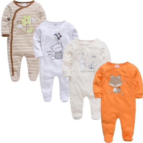 2019 3 4 pcs/lot Summer Baby Boy roupa de bebes Newborn Jumpsuit Long Sleeve Cotton Pajamas 0-12 Months Rompers Baby Clothes
