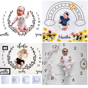 Infant Baby Milestone Blanket Photo Photography Prop Blankets Backdrop Cloth Calendar Bebe Boy Girl Photo Accessories 100x100cm