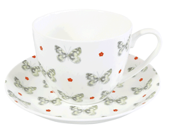 Marbled White Breakfast Cup & Saucer