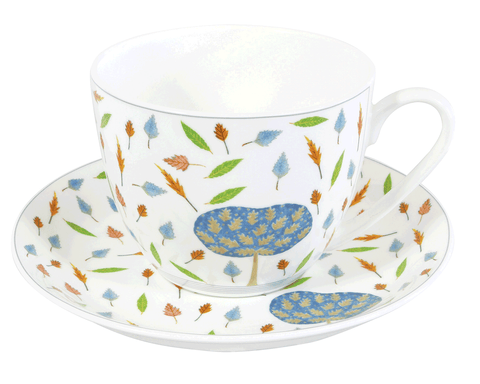 Oak Tree & Leaves Breakfast Cup & Saucer