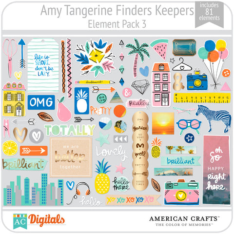 Amy Tangerine Finders Keepers Element Pack #3