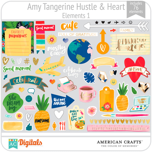 Amy Tangerine Hustle and Heart Element Pack 1
