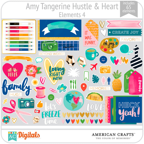 Amy Tangerine Hustle and Heart Element Pack 4