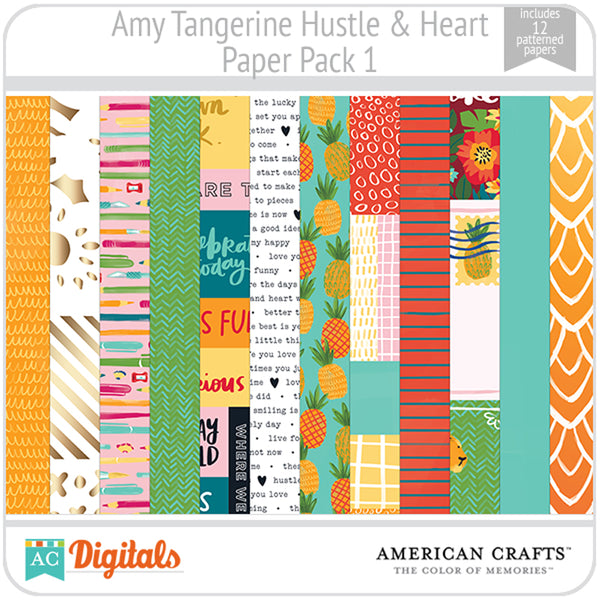 Amy Tangerine Hustle and Heart Paper Pack 1