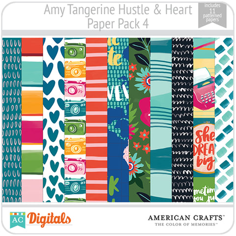 Amy Tangerine Hustle and Heart Paper Pack 4