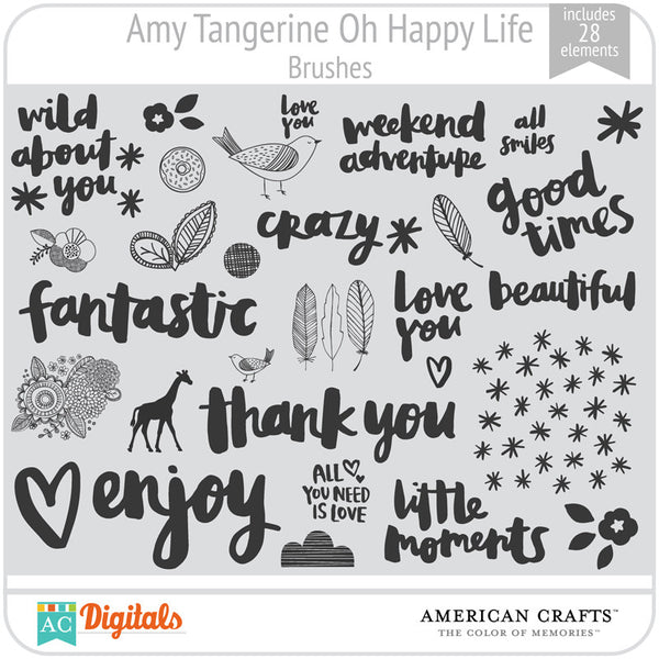 Amy Tangerine Oh Happy Life Brushes