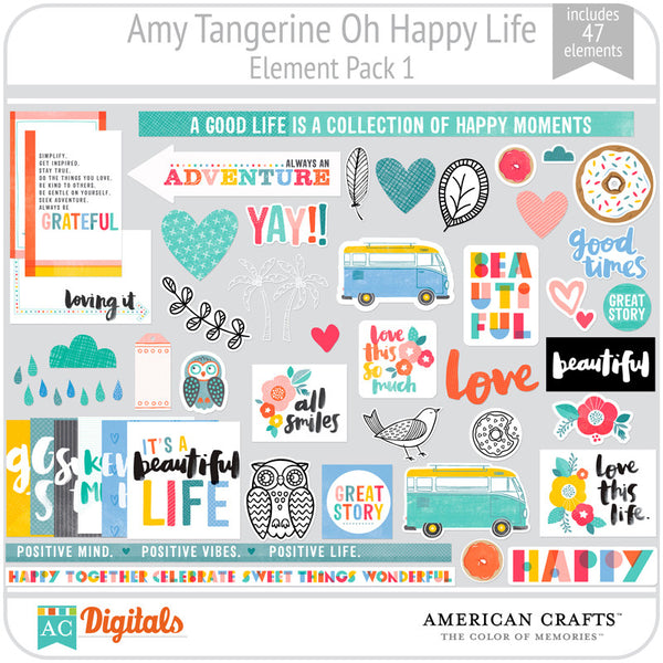 Amy Tangerine Oh Happy Life Element Pack 1
