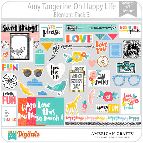 Amy Tangerine Oh Happy Life Element Pack 3