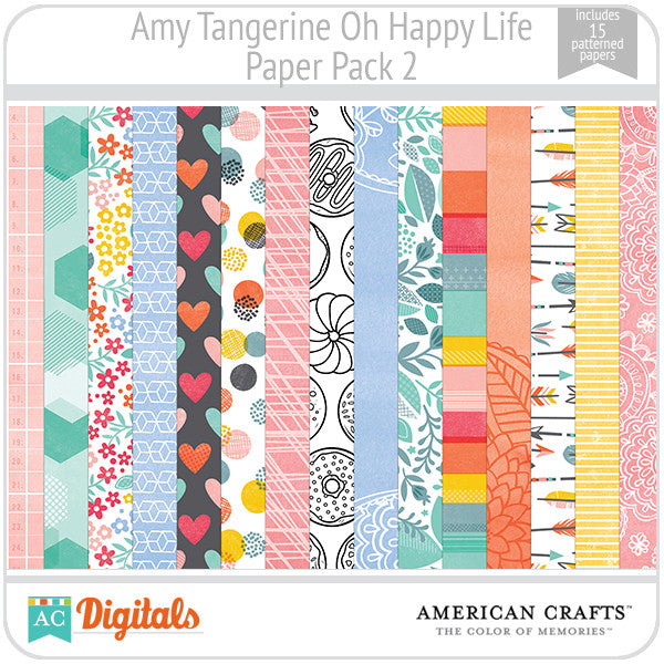 Amy Tangerine Oh Happy Life Paper Pack 2