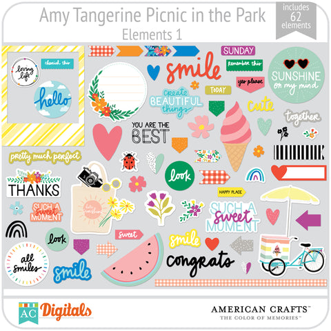 Amy Tangerine Picnic in the Park Element Pack 1