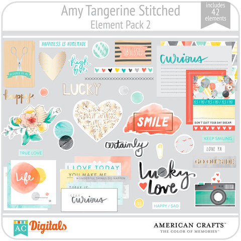 Amy Tangerine Stitched Element Pack #2