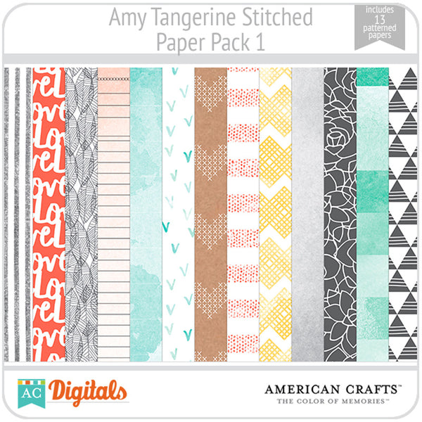 Amy Tangerine Stitched Paper Pack #1