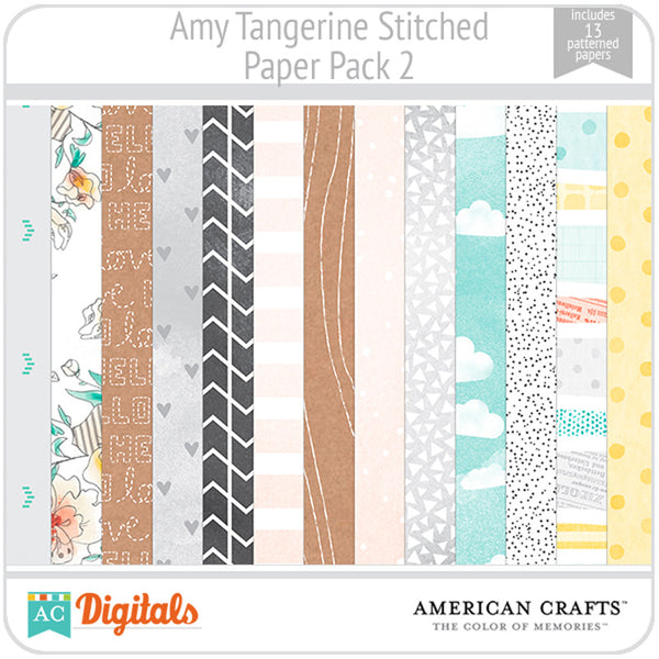 Amy Tangerine Stitched Paper Pack #2