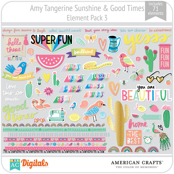 Amy Tangerine Sunshine & Good Times Element Pack 3