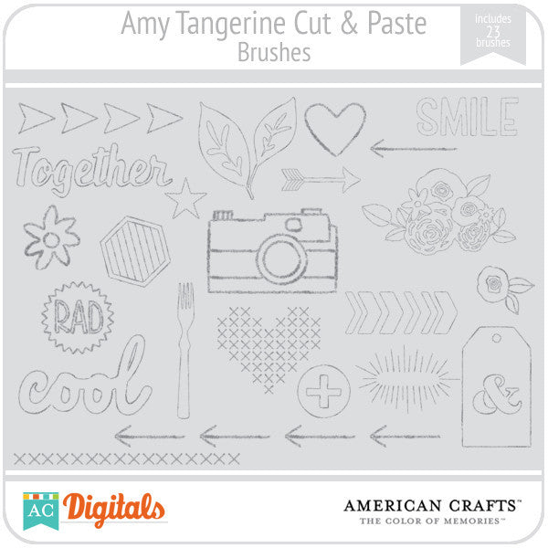 Amy Tangerine Cut & Paste Brushes